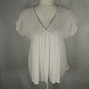 Forever 21 cream lace and knit blouse 0X 6136
